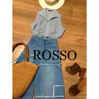 ロッソ(ROSSO)の☆rosso☆ロッソ ストライプノースリーブシャツ(シャツ/ブラウス(半袖/袖なし))