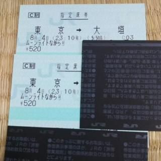 ジェイアール(JR)の「最終値引き」8月4日東京発 ムーンライトながら号ペア席(2人隣席)(鉄道乗車券)