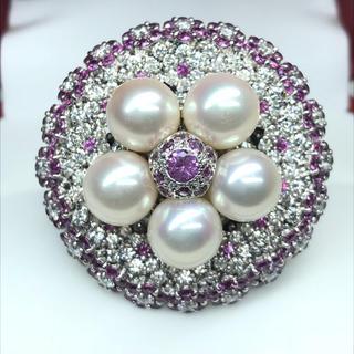 1416 ピンクサファイア7.509ctダイヤモンド5.839ct Ptリング(リング(指輪))