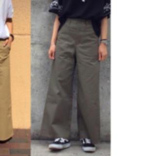 ジーユー(GU)の股下55cm 裾上げ済み GU ジーユー ベイカーワイドパンツ L オリーブ(ワークパンツ/カーゴパンツ)
