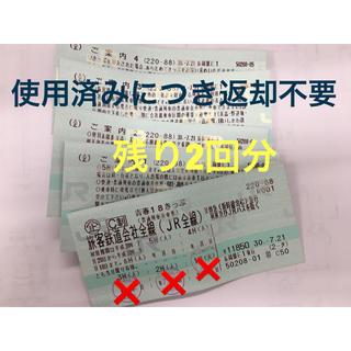 ジェイアール(JR)の青春18きっぷ 残り2回分(鉄道乗車券)