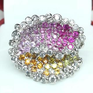 1419 サファイア(ピンク・オレンジ・イエロー)ダイヤモンド PT900リング(リング(指輪))
