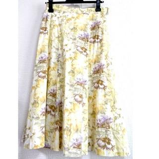 チェスティ(Chesty)のヴィンテージ 華やかボタニカル柄花柄 ミモレ丈 フレアスカート(ひざ丈スカート)