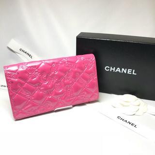 シャネル(CHANEL)の620 CHANEL シャネル アイコン パテントレザー 財布 ピンク(財布)
