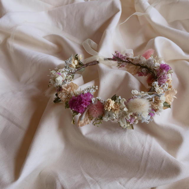 ハンドメイド 子供用 花かんむり  ハンドメイドのアクセサリー(ヘアアクセサリー)の商品写真
