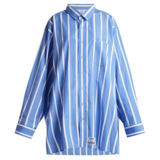 バレンシアガ(Balenciaga)の確実正規品 VETEMENTS ヴェトモン ストライプシャツ ブルー L(シャツ)