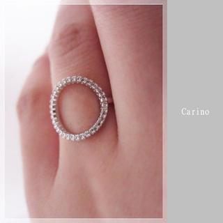 繊細 輝く CZ O リング 指輪 11-13号 ホワイトゴールドcolor(リング(指輪))
