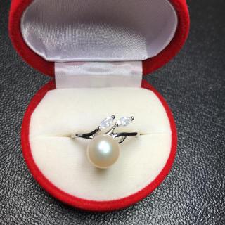 送料無料!新品 pt プラチナ 本物 真珠 リング 指輪 18号(リング(指輪))