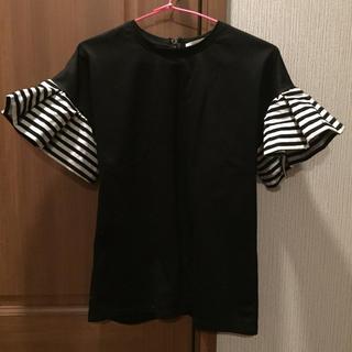 バーニーズニューヨーク(BARNEYS NEW YORK)のヤマト着払いのみ! ボーダーズアットバルコニー 袖フリルTシャツ(Tシャツ(半袖/袖なし))