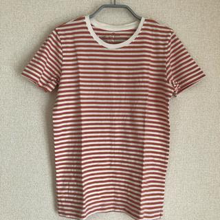 ムジルシリョウヒン(MUJI (無印良品))の*無印良品*ボーダーTシャツ*ホワイト×オレンジ*XS(Tシャツ(半袖/袖なし))