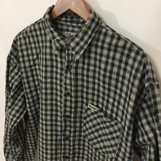 チョイス(CHOICE)のChoice チョイス 長袖シャツ チェック 格子柄 黒x白 ビッグサイズ 古着(シャツ)