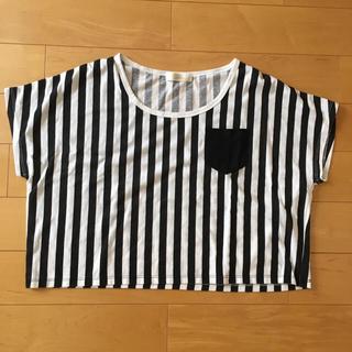 アージェントグリーム(Argent Gleam)のgleam(グリーム)Tシャツ ストライプ柄 トップス ショート丈(Tシャツ(半袖/袖なし))