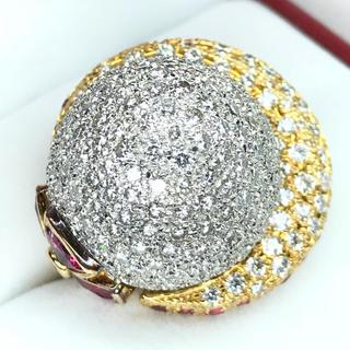 1440 ダイヤモンド7.52ct ピンクトルマリン3.50ct PtYGリング(リング(指輪))