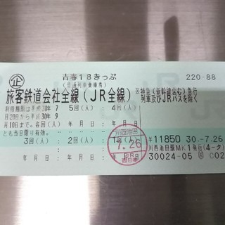 gyさん専用青春18きっぷ 4回 (鉄道乗車券)