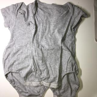 ムジルシリョウヒン(MUJI (無印良品))の無印 肌着 ベビー 80 2枚セット グレー ロンパース(肌着/下着)