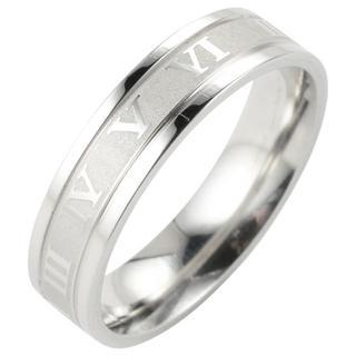 【14号】【シルバー】ローマ数字が刻まれたステンレスリング 指輪 メンズ アクセ(リング(指輪))