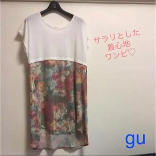 ジーユー(GU)の花柄★胸元切り替えワンピ(ミニワンピース)
