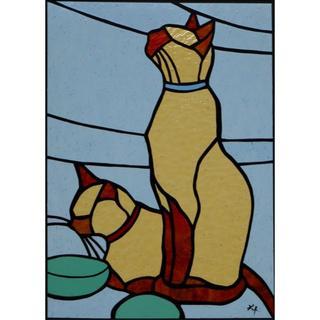 達風オリジナル・完成ステンドグラス 「ラブリー猫:ごはんまだ」(ガラス)