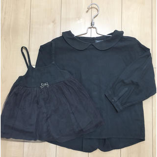 ベルメゾン(ベルメゾン)の親子コーデ ママのおそろい服 ペア ネル素材 紺 ネイビー ベルメゾン(ワンピース)