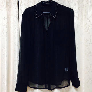 シースルーシャツ/ブラック/パール(シャツ/ブラウス(長袖/七分))