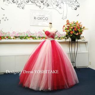 ウエディングドレス(パニエ無料) 赤&ピンクチュール&ラメ 二次会/披露宴(ウェディングドレス)