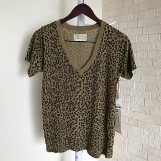 カレントエリオット(Current Elliott)の新品 カレントエリオット レディスVネックTシャツ M レオパード柄 / T12(Tシャツ(半袖/袖なし))