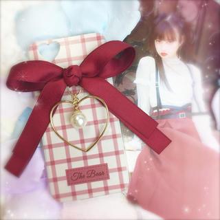 RED♡ダブルリボン×ハートフレーム×ビッグパールチャーム♡(iPhoneケース)