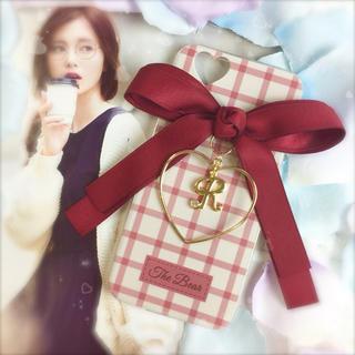 RED♡ダブルリボン×ハートフレーム×イニシャルチャーム♡(iPhoneケース)