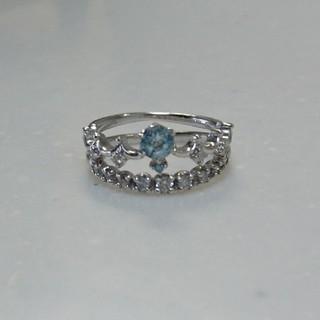 K10WG ダイヤ 天然石 ティアラ 王冠 クラウン 二連 重ね付け リング(リング(指輪))