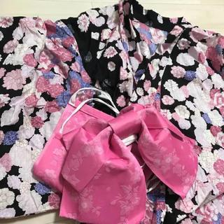 シマムラ(しまむら)の浴衣 帯 セット 黒 ピンク(浴衣)