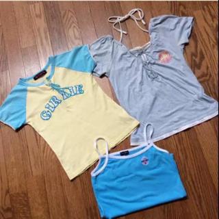 アクアブルー(Aqua blue)のTシャツ&キャミソール 3枚 クロスブラス アクアブルー(Tシャツ/カットソー)
