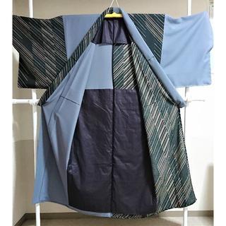 【片身着物】黒縞×鼠 化繊 メンズ 洗える着物   着物 浴衣(着物)