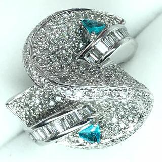 1446 パライバトルマリン0.24ct ダイヤモンド2.55ct WGリング(リング(指輪))