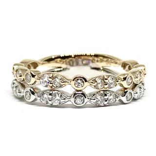ピンク&ホワイトゴールド K18 天然ダイヤモンド 0.91ct リング(リング(指輪))