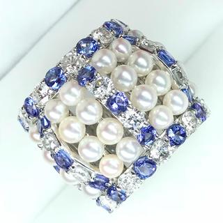 1447 アコヤ真珠 タンザナイト3.44ctダイヤモンド2.45ctPTリング(リング(指輪))