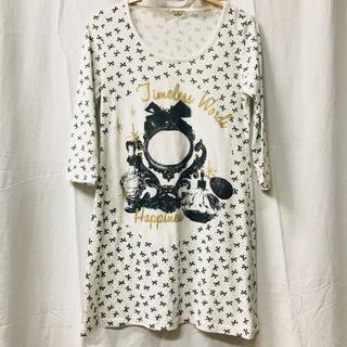 キャトルセゾン(quatre saisons)の90ans リボン ドット 7分袖 Tシャツ ホワイト ブラック(Tシャツ(長袖/七分))