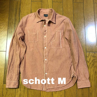 ショット(schott)のschott ショット 古着長袖ワークシャツ Mサイズ 猫目ボタン(シャツ)