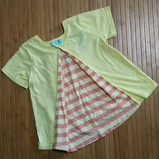 フタフタ(futafuta)のfutafutaフタフタ*バックシャン半袖Tシャツ*イエロー*110cm(Tシャツ/カットソー)