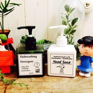 スヌーピー ボトルステッカー ハンドソープ&食器洗剤(キッチン小物)