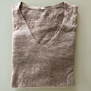ムジルシリョウヒン(MUJI (無印良品))の美品!無印良品 フレンチリネンUVカット Vネックセーター(ニット/セーター)