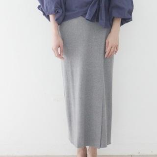 マリリンムーン(MARILYN MOON)の今季wa...lanceリブニットスカートグレー☆未使用(ひざ丈スカート)