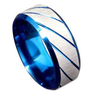 【21号】【ブルー】ステンレスツイルリング 指輪 メンズ レディース(リング(指輪))