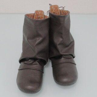 【新品未使用】 ショートブーツ レザー調 ダークブラウン 26.0~27.0cm(ブーツ)