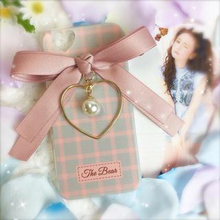 PINK♡ダブルリボン×ハートフレーム×ビッグパールチャーム♡(iPhoneケース)