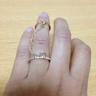 送料無料 新品 リング 2連 チェーン(リング(指輪))