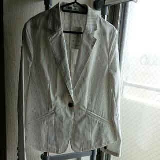 ニッセン(ニッセン)の新品タグ付き★麻混ストライプジャケット(テーラードジャケット)