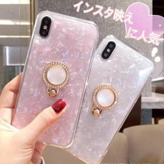 シェル 貝殻iPhoneケース パール真珠のバンカーリング付き(iPhoneケース)