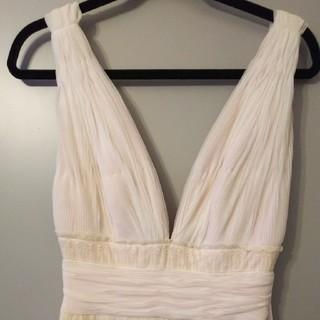 タダシショウジ(TADASHI SHOJI)のベビーピンクと白の素敵なドレス TADASHI(ロングドレス)