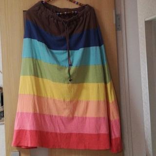 ラフ(rough)のroughカラフルレインボースカート(ロングスカート)