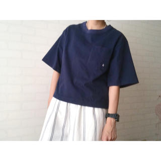 日本製 ALL ORDINARIES ポケット Tシャツ ネイビー メンズ